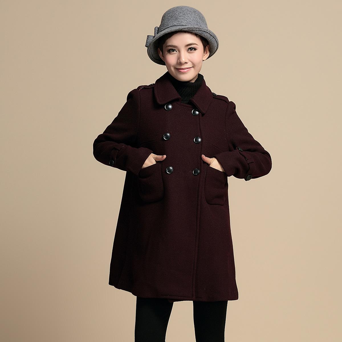 原创品牌女装中老年冬装 羊毛呢外套大衣中长款女韩版2014新款潮
