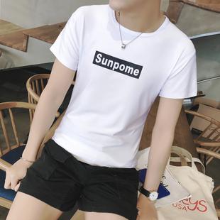 夏季男士短袖T恤男装圆领半袖修身潮流韩版日系学生体恤上衣韩版