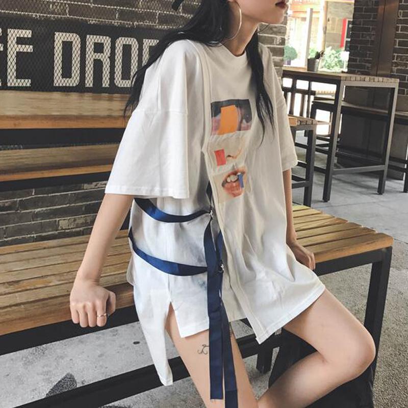 原宿风连衣裙女bf百搭韩国夏学生港ulzzang韩版风t恤裙2017新款潮