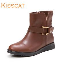 接吻猫秋冬女靴潮流皮带扣牛皮女靴百搭低跟中筒靴K55708-03MD