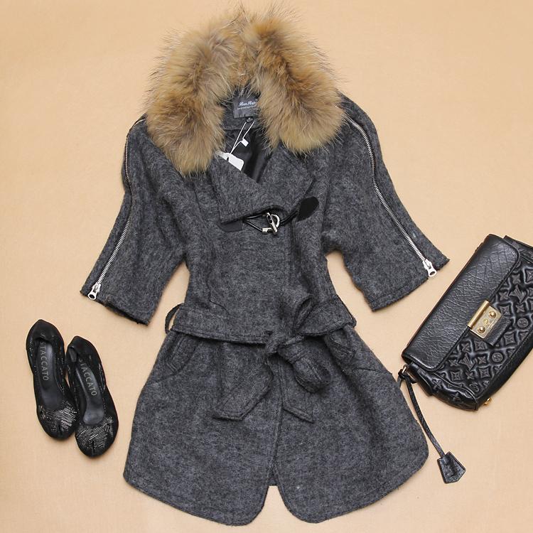 欧洲站秋冬装新款呢子羊绒大衣韩国东大门貉子毛领羊毛呢外套女士