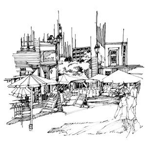 钢笔表现/建筑风景速写/城市园林环艺规划专业/钢笔画
