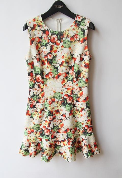 韩版15春装新款洋气修身甜美可人浪漫花色连衣裙