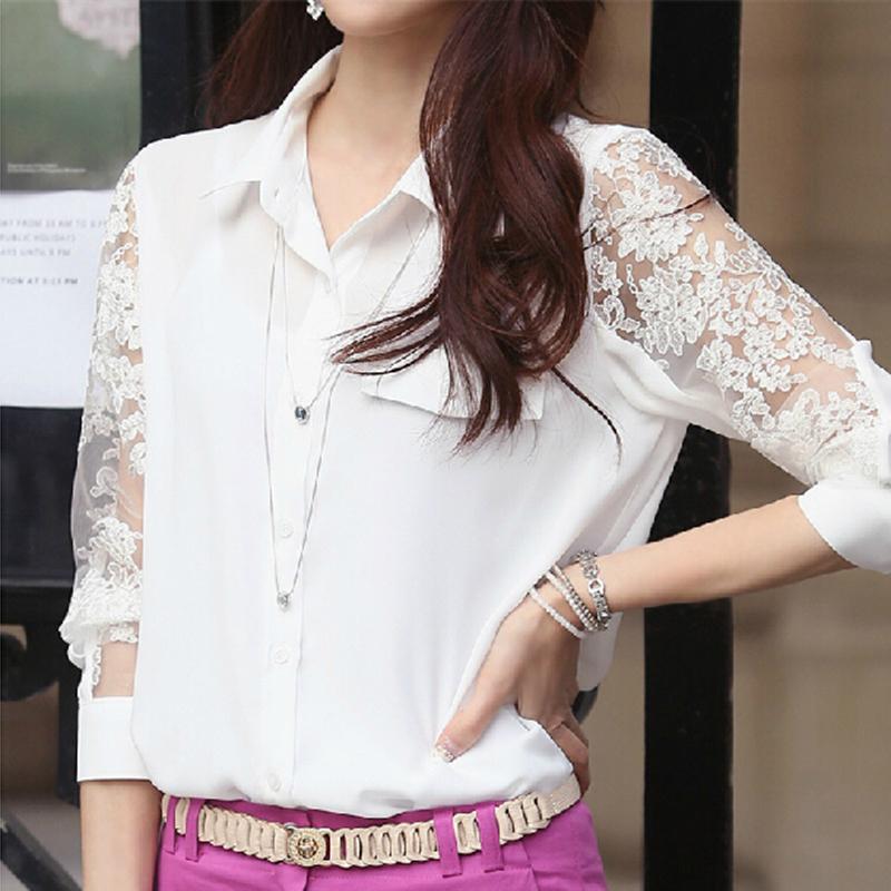 2015韩版春装新款长袖雪纺衫上衣 蕾丝打底女装衬衣白色大码夏