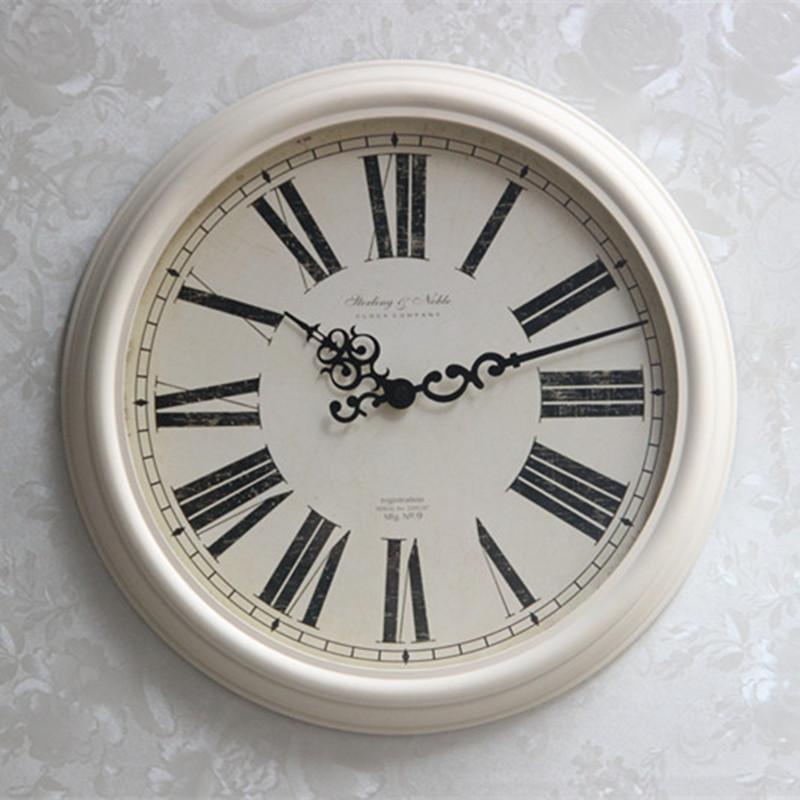 复古欧美风格美式挂钟欧式简约客厅厚框仿铁艺挂钟良
