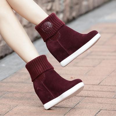 毛线筒短靴女冬季新款真皮厚底高跟磨砂牛皮马丁靴内增高短靴