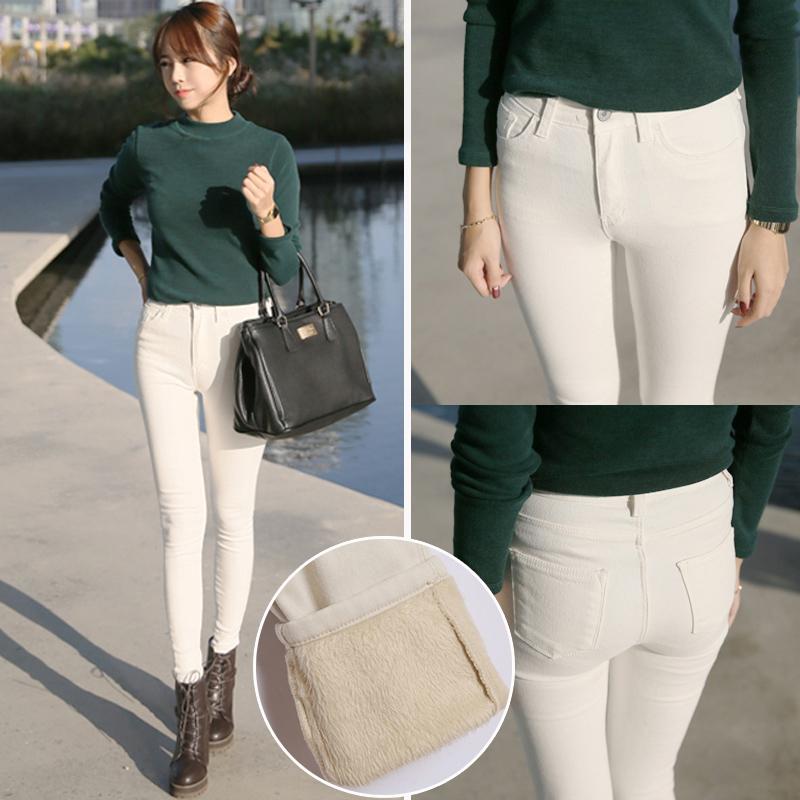 秋冬新款韩版白色弹力高腰加绒加厚牛仔裤女小脚裤显瘦铅笔长裤子