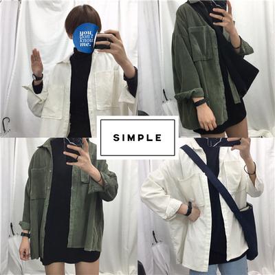 韩国订单chi2016秋装新款推荐自留款灯芯绒oversize衬衫女衬衣潮