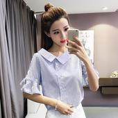 【天天特价】不规则V领衬衫夏装韩版条纹显瘦喇叭袖短袖上衣衬衣