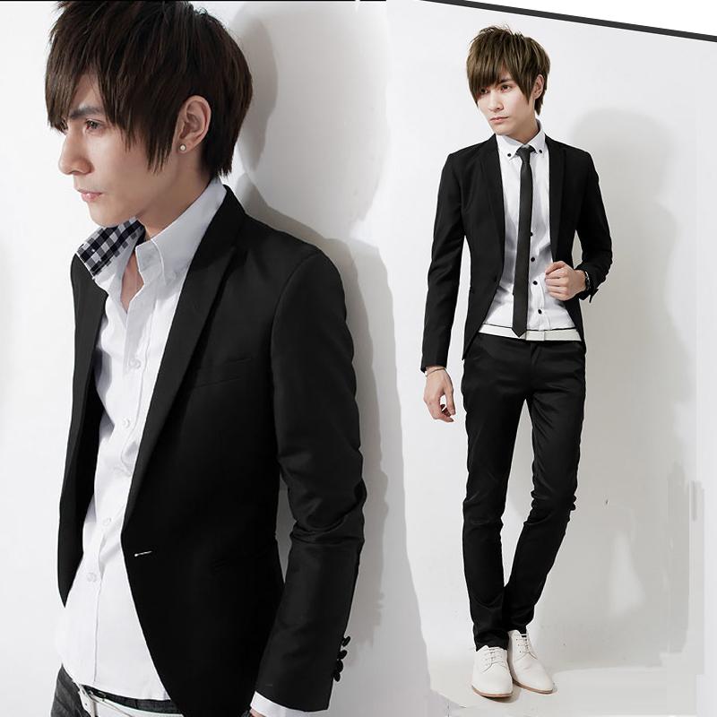 潮流韩版男士小西服潮男休闲小西装男蓝色时尚英伦修身西装男外套