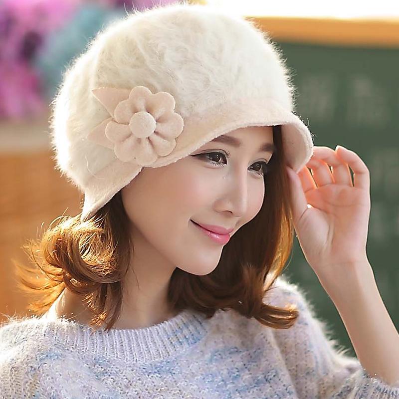 帽子女冬天韩版保暖兔毛帽 加厚毛线帽女可爱潮盆帽旺角16号