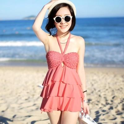 包邮2014正品新款分体裙式平角保守遮肚钢托胸垫聚拢女士泳衣