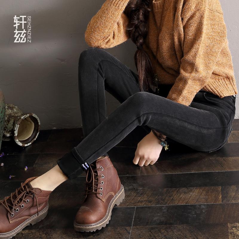 轩兹冬季新款加绒打底裤女外穿韩版紧身显瘦小脚裤黑色高腰牛仔裤