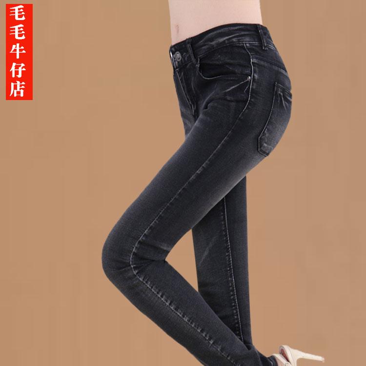 冬季加绒牛仔裤女铅笔裤韩版修身显瘦中腰弹力加厚保暖小脚裤长裤