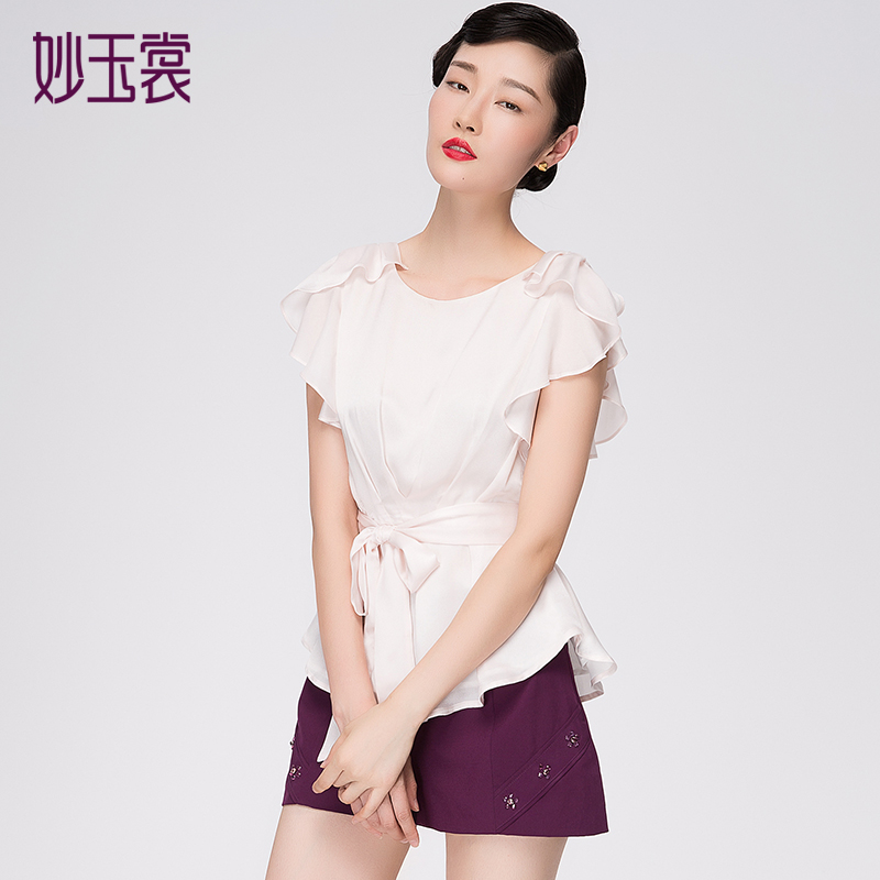 妙玉裳女装衬衫2014秋装打底衬衫上衣韩版休闲修身显瘦短袖衬衣
