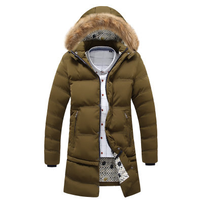 [手机拍更省] 冬季新款休闲男士棉衣青少年中长款修身棉服连帽外套加厚棉袄韩版