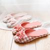 天素家居专营店夏季素色居家拖鞋 日式女士室内家居防滑拖鞋格子棉布拖鞋夏