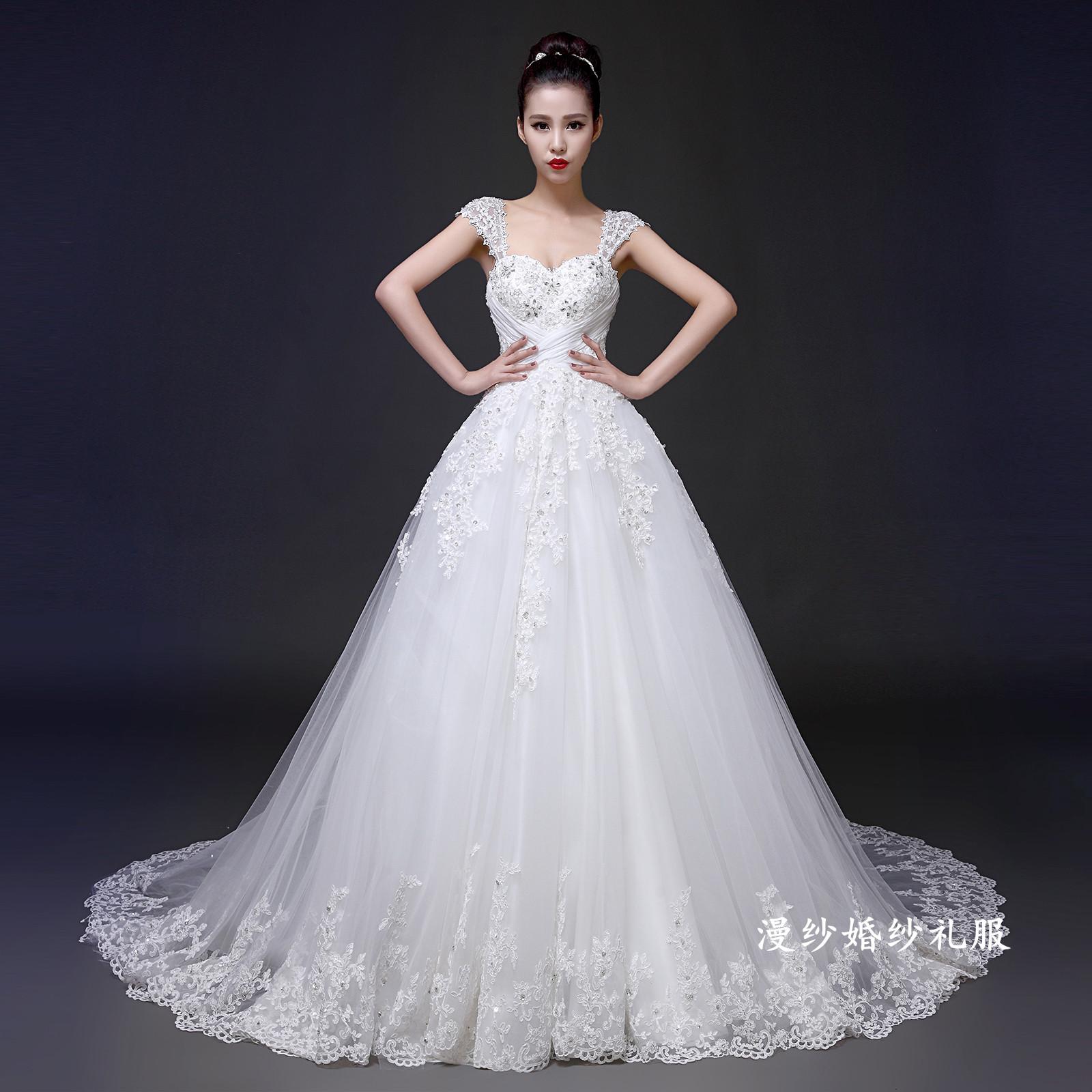 婚纱礼服新款2014冬季新娘高端定制一字肩带抹胸长拖尾显瘦红婚纱