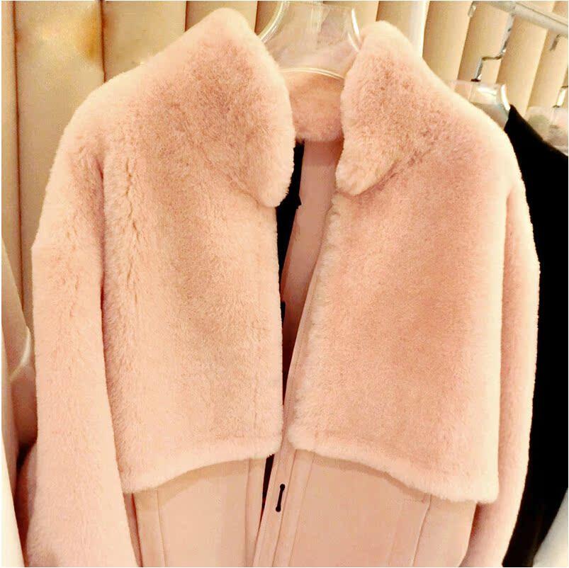 高端定制2014新款欧洲站韩版流行时尚美利奴羊毛一体皮草外套女士
