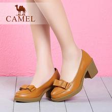 骆驼女鞋 春季新款高跟鞋 简约蝴蝶结粗跟单鞋 春秋女士鞋子图片
