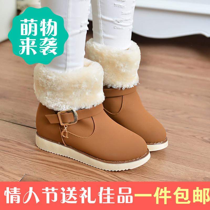 2014新款时尚冬季女鞋柜毛绒骑士靴中跟套筒皮带扣防滑保暖甜美