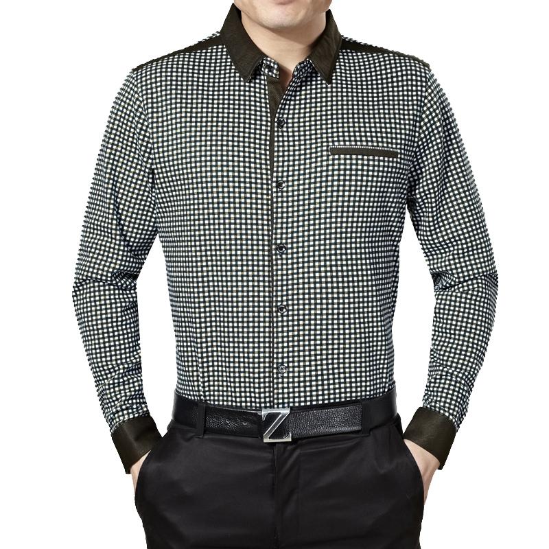 2014秋季新款男装正品男士商务大格子中年衬衫长袖口袋爸爸装1821