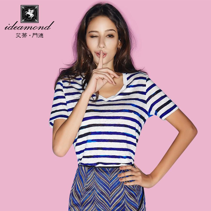 原创新款女士上衣短袖宽松女装麻蓝白条纹女T恤海军风欧美街头潮t