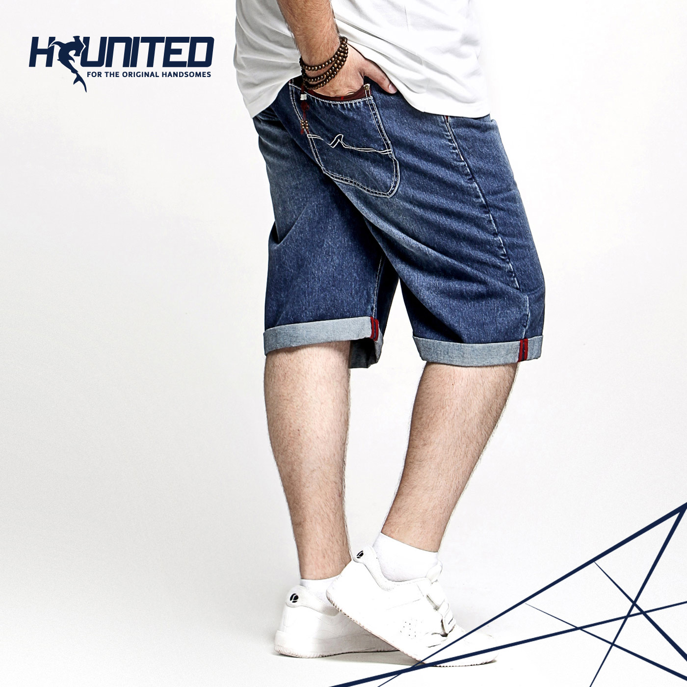 H-UNITED巨鲨特大码男装休闲迷彩撞色牛仔短裤男加肥加大男士中裤