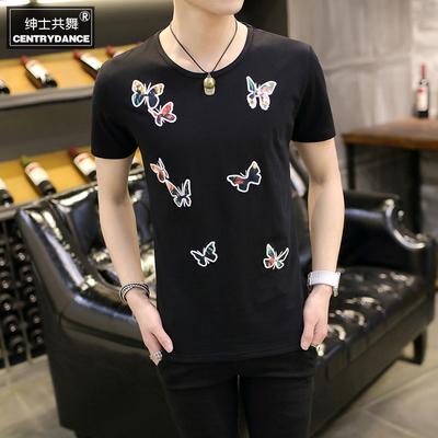 2016新款绣花短袖T恤韩版修身青年时尚高端T恤纯棉短袖T恤男潮