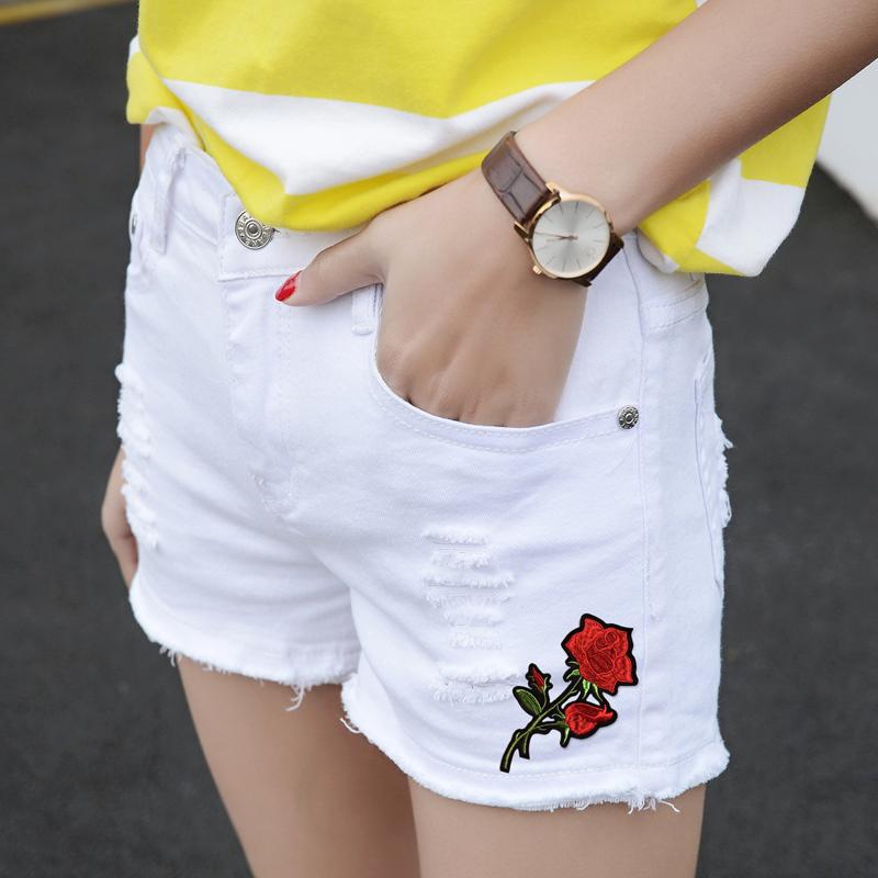 毛边破洞白色短裤牛仔宽松显瘦阔腿夏季热裤学生刺绣