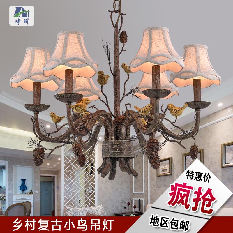 美式乡村吊灯创意个性复古艺术餐厅卧室简约大气铁艺欧式吊燈客厅