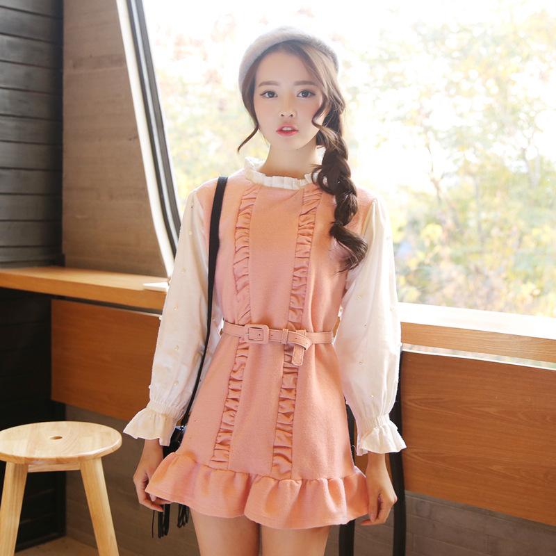 2015春装女装新品 韩版瑞丽宫廷拼色复古系带木耳边毛绒呢连衣裙