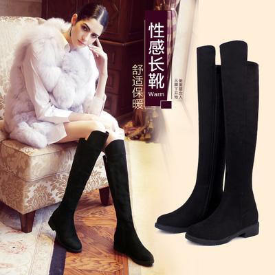 艾斯臣过膝靴长靴女靴子秋冬靴潮冬季长筒弹力靴高筒平底女鞋新款