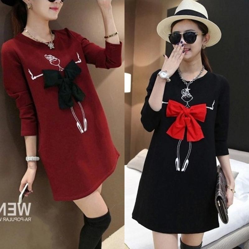2014韩版冬长袖T恤裙小衫女中长款印花加绒加厚包臀保暖打底衫女