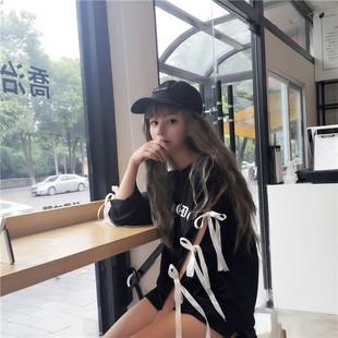 苏菲家定制  韩国超级火爆的袖子系带不规则印花前短后长卫衣