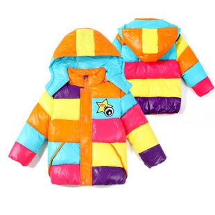 2014年新品冬季中小童儿童棉衣五彩衣糖果色休闲加厚童棉羽绒