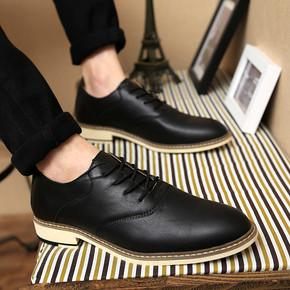 2016新款夏季英伦风休闲皮鞋男鞋子透气商务青年尖头男士增高潮鞋