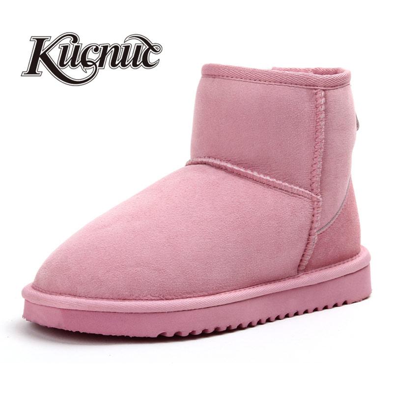 kucnue羊皮毛一体雪地靴女冬季 短靴糖果色套筒棉鞋磨砂真皮女鞋