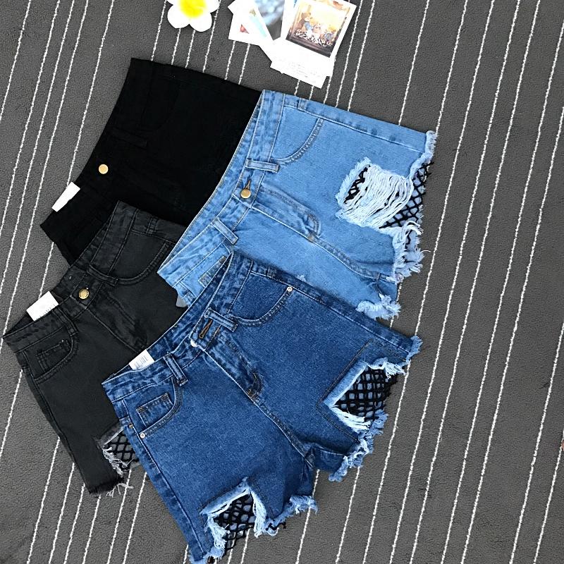 热裤高腰毛边渔网破洞个性网格短裤显瘦阔腿拼接牛仔