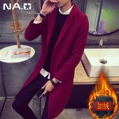 冬季韩版中长款加厚毛呢风衣英伦休闲保暖外套潮男士修身加绒大衣