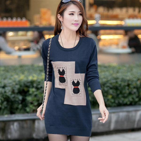 2014秋冬季新款韩版女装中长款大码显瘦毛衣长袖打底衫针织衫套头