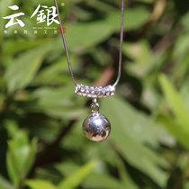 云银S925纯银套链个性气质圆珠光面项链女款锁骨链韩国可爱设计款