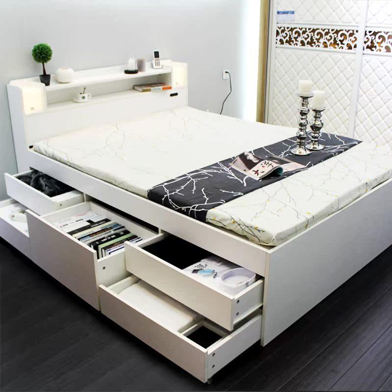 物抽屉收纳板式床双单人1.2米1.8米1.5米榻榻米床日式家具高箱储