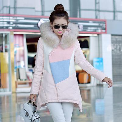 2016冬新款波斯顿韩版时尚中年羽绒服女中长款波士顿连帽修身显瘦