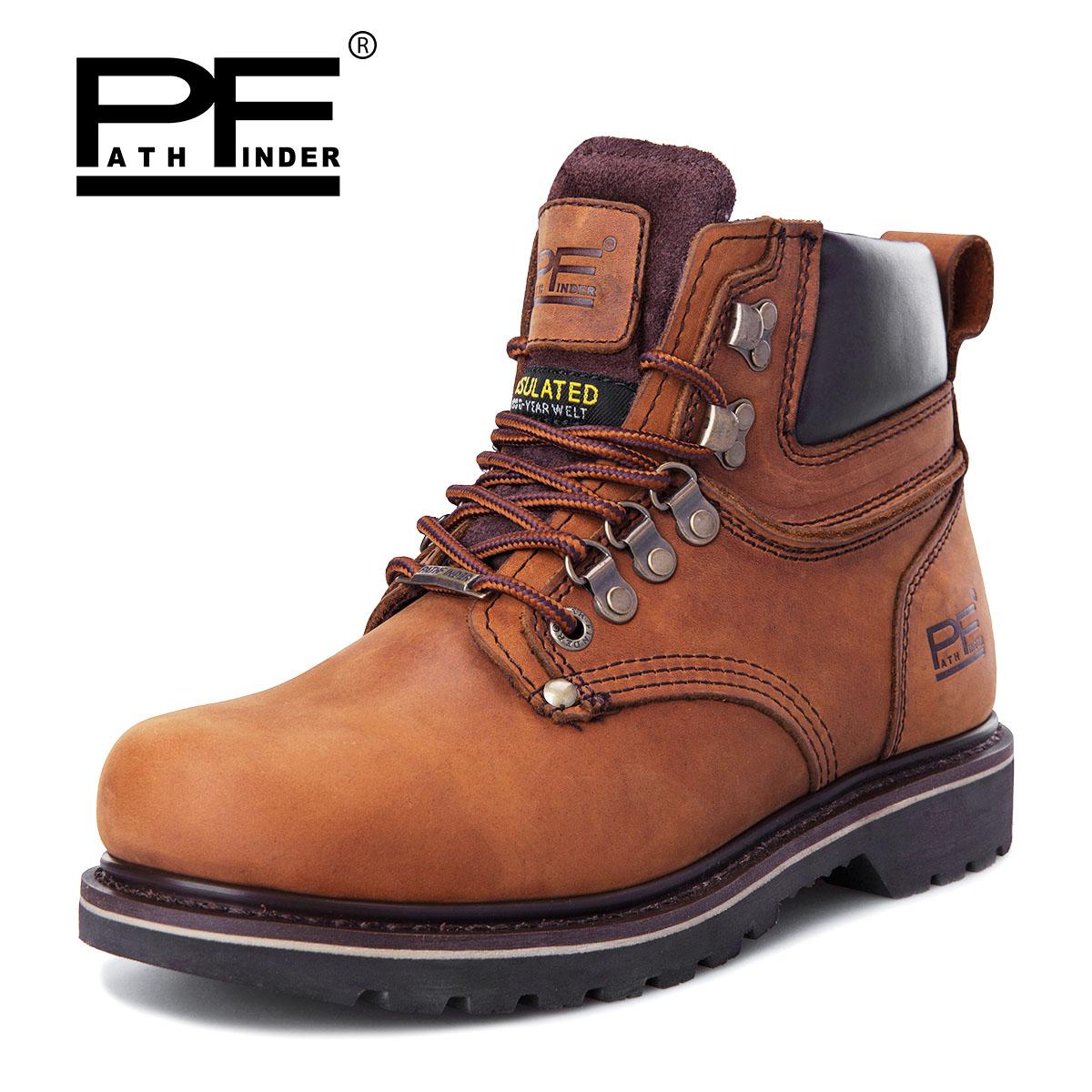 PF美式复古潮流工装靴户外休闲登山鞋短筒皮靴大头男靴PathFinder