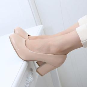 韩版春秋新款女士皮鞋中跟粗跟女鞋子OL高跟圆头职业工作鞋女单鞋