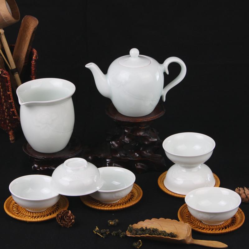 守一堂青瓷泡茶陶瓷出水芙蓉茶组景德镇具小茶壶雕刻包邮功夫茶具