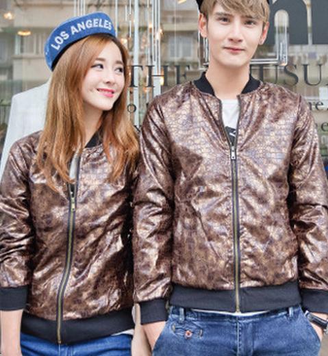 2015时尚秋装新款韩版男女碎花外套长袖夹克衫百搭开衫花色情侣装
