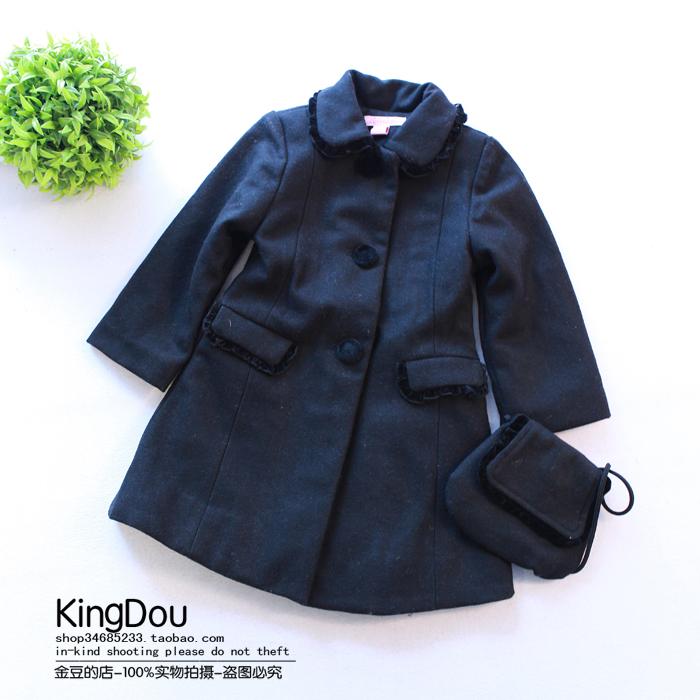 金豆的店 2014冬季新款欧美女童中长款加棉呢大衣 韩版风衣外套B5