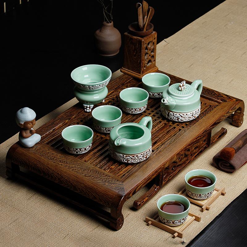 友尚 茶具套装特价 整套陶瓷汝窑紫砂功夫茶具鸡翅木茶盘实木茶海